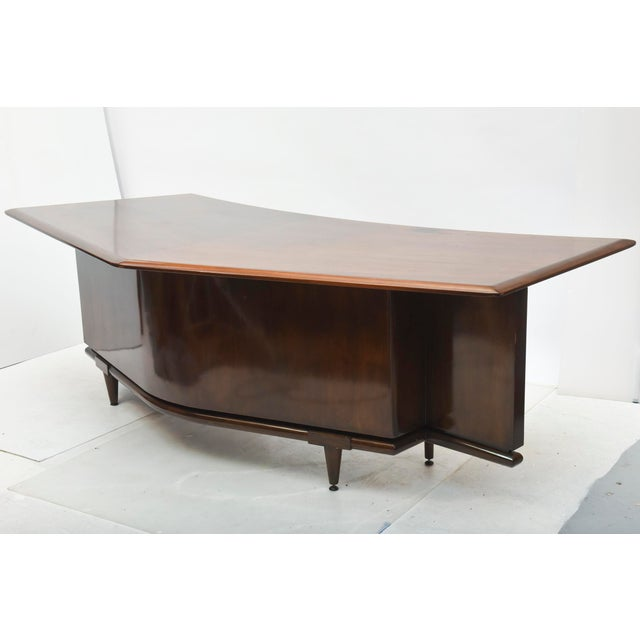 Brown Fine American Modern Dark Walnut Executive Desk, Custom Made by Monteverdi Young For Sale - Image 8 of 10