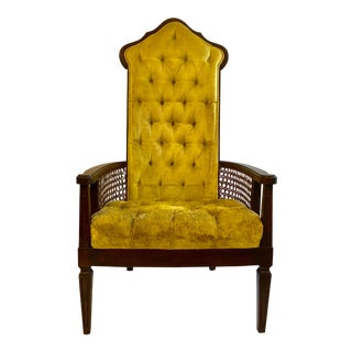 Mid-Century Modern High Back Velvet Cane Chair For Sale