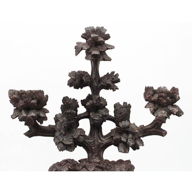 Rustic Pair of Rustic Black Forest, 19th Century Carved Walnut Three-Arm Candelabra For Sale - Image 3 of 9