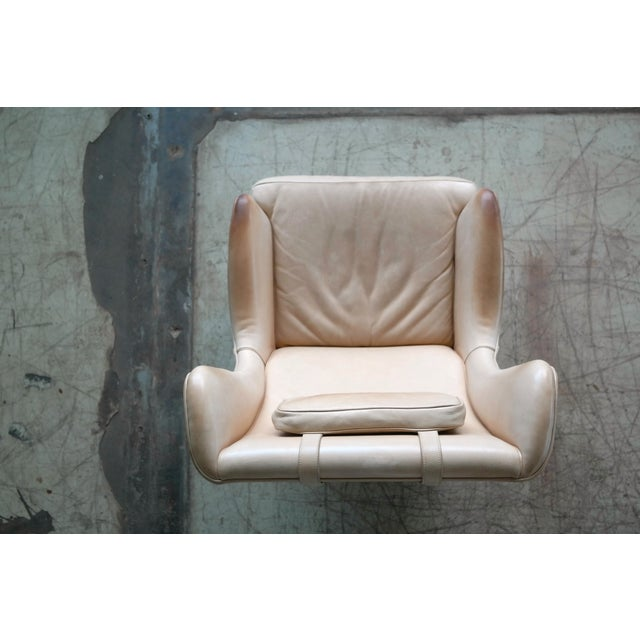 Tan Midcentury Scandinavian Arne Norell High Back Lounge Chair in Worn Tan Leather For Sale - Image 8 of 10