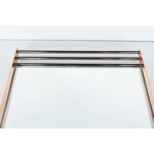 Art Deco Machine Age Skyscraper Style Mirrored Tray with Copper and Chrome For Sale - Image 9 of 11