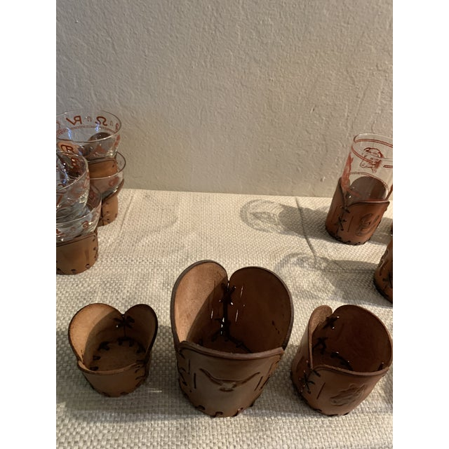 Chestnut Mid-Century Western Theme Leather Accent Glasses and Shaker - 11 Piece Set For Sale - Image 8 of 9