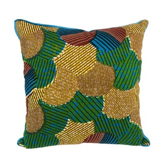 Blue/Brown & Blue-Backed African Wax Print Pillow