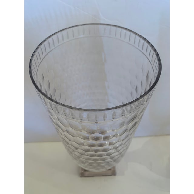 Cylindrical Cut Glass Hurricanes Candle Holders -A Pair For Sale In Philadelphia - Image 6 of 10