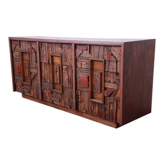 Lane Pueblo Brutalist Mid-Century Modern Oak Long Dresser or Credenza, 1970s For Sale