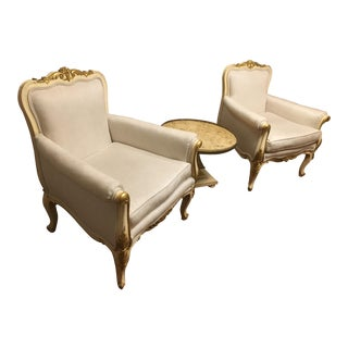 French Rococo White Bergère Chairs - a Pair For Sale