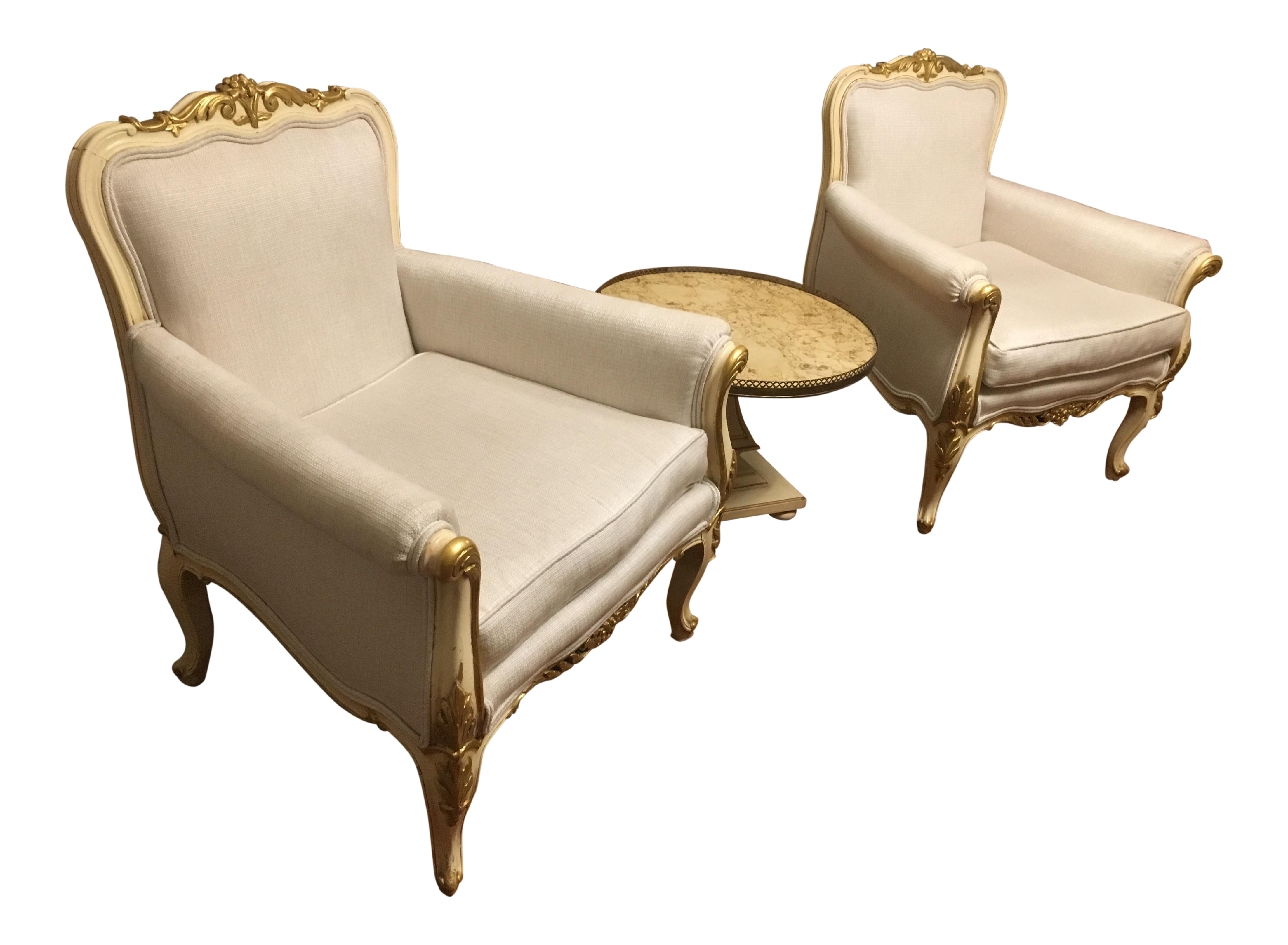 French Rococo White Bergère Chairs   A Pair
