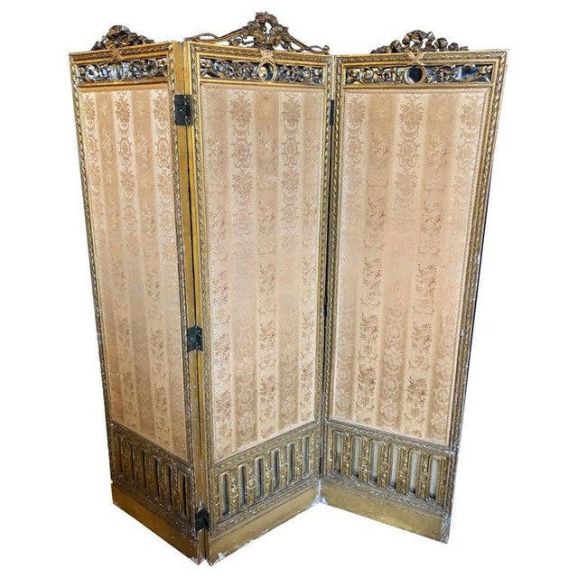 Louis XVI Style 3-Panel Folding Screen / Room Divider With French Tapestry For Sale - Image 13 of 13