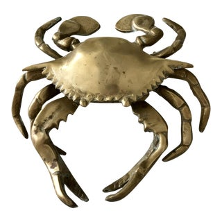 Vintage Brass Crab Box Ashtray For Sale