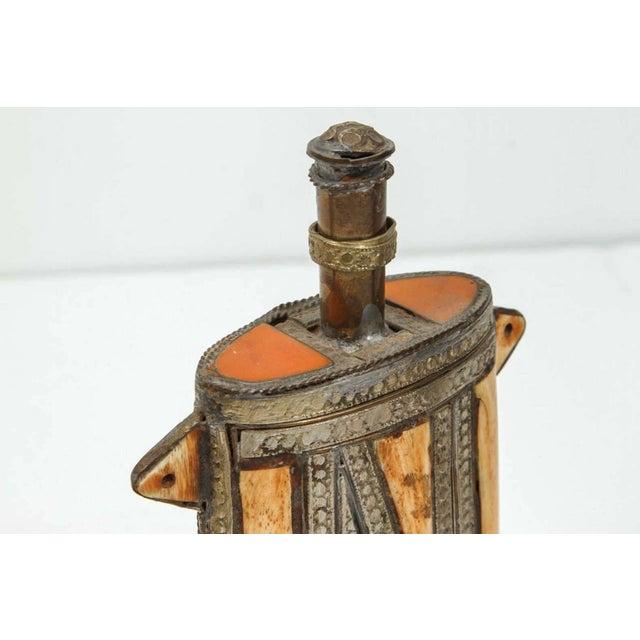 Folk Art Moroccan Berber Brass Tribal Gun Powder Flask With Bone Inlay For Sale - Image 3 of 4
