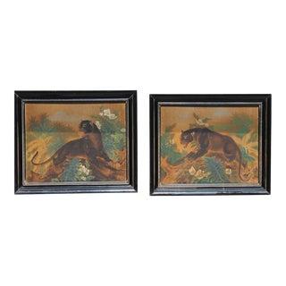 Art Deco Jungle Cat Paintings - a Pair For Sale