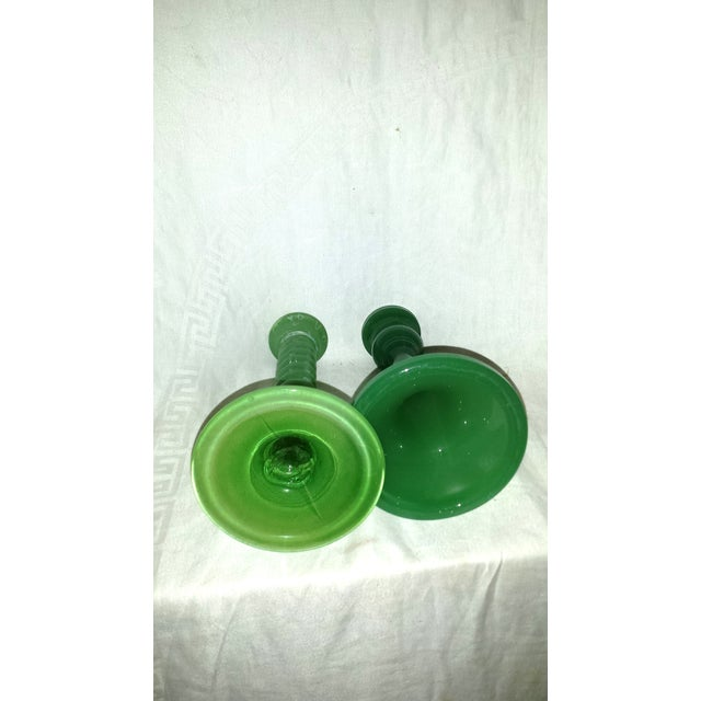 1920s Green Glass Candleholders - A Pair - Image 7 of 7