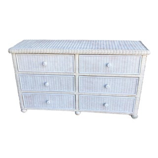 White Footed Wicker Six Drawer Dresser