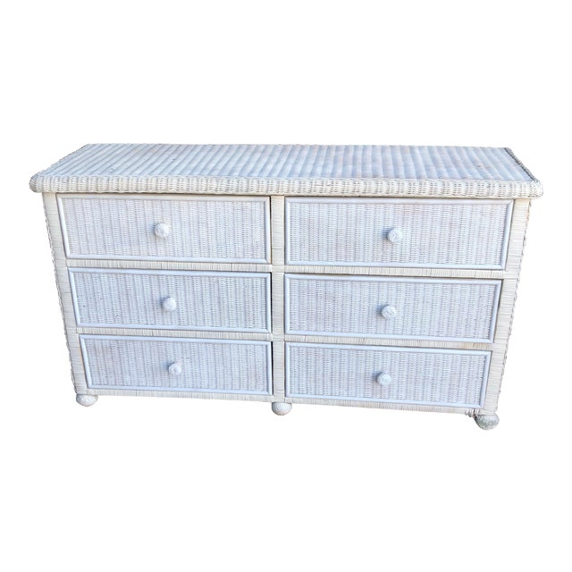 White Footed Wicker Six Drawer Dresser For Sale