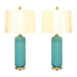 Stunning Pair of Turquoise Ceramic Lamps with Brass and Lucite Accents For Sale