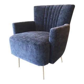 Maharam Upholstery and Solid Brass Legs Blue Art Deco Armchair For Sale