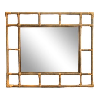 Special Midwest Delivery; Large Midcentury Rattan / Bamboo Mirror For Sale