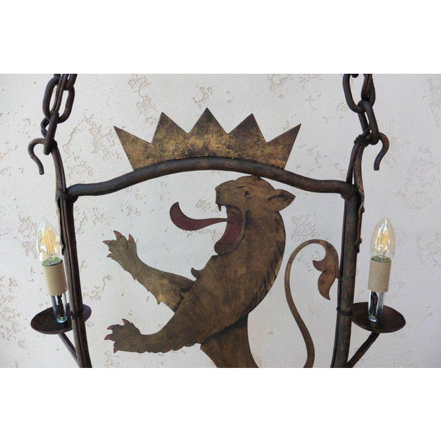 French Iron and Painted Tole Lion Chandelier, Circa 1900 - Image 4 of 4