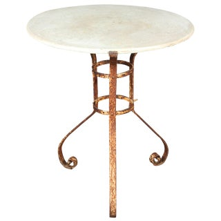 Late 19th Century French Round Marble-Top and Iron Garden Table For Sale