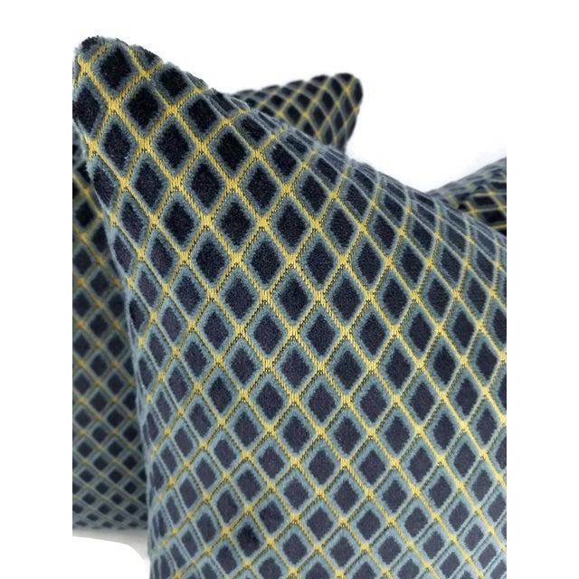 Contemporary Navy Blue Diamond Cut Velvet Pillow Cover For Sale - Image 3 of 4