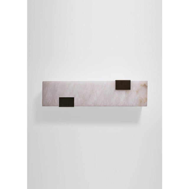 2010s Modern Contemporary 003-2c Sconce in Blackened Brass and Alabaster by Orphan Work For Sale - Image 5 of 7