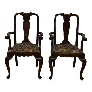 Henkel Harris Queen Anne Solid Mahogany Dining Arm Chairs - a Pair For Sale
