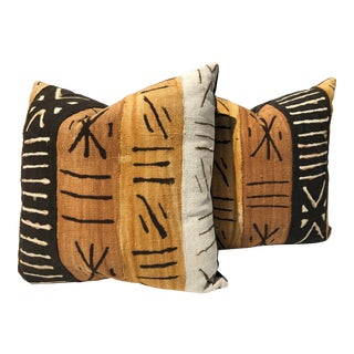 African Mudcloth and Velvet Pillows - a Pair For Sale