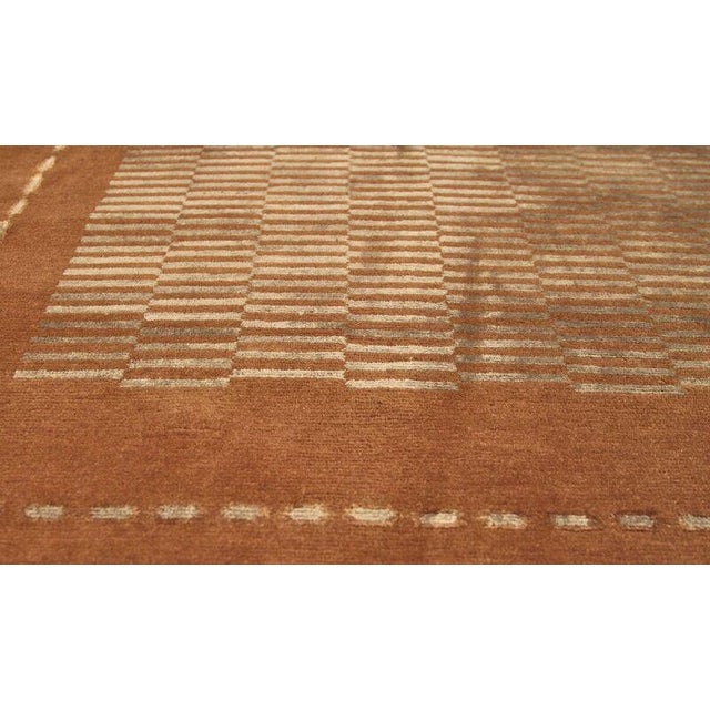 Modern Hand Knotted Classic Geometric Rug - 6′ × 9′3″ For Sale - Image 3 of 6
