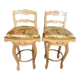 Country French Ladderback Swivel Barstools With Custom Removable Seat Cushions - Set of 2 For Sale