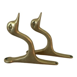 Pair of Vintage Brass Duck Hooks For Sale