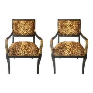 Vintage Neoclassical Style Faux Leopard Chairs Pair For Sale