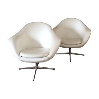 Swedish Overman Pod Swivel Lounge Chairs - A Pair