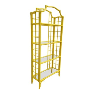 1970s Chippendale Yellow Rattan Pagoda Top Etagere For Sale
