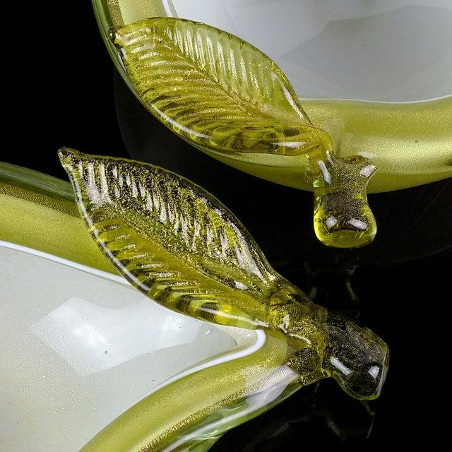 Olive Barbini Murano Vintage Green Apple Pear Gold Flecks Italian Art Glass Mid Century Fruit Bowls - a Pair For Sale - Image 8 of 12