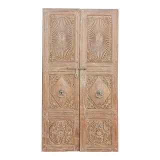 19th Century Antique Indo-Portuguese Sunburst Doors For Sale