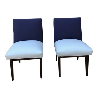 Modern Upholstered Slipper Chairs- A Pair For Sale