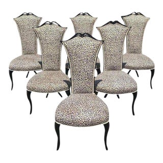 1940s French Art Deco Ebonized Tall Back Dining Chairs - Set of 6 For Sale