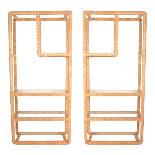 Midcentury Regency Rattan Cane and Glass Shelving Units - a Pair For Sale