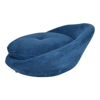 Mid-Century Modern Adrian Pearsall Large Lounge Chair in Blue Velvet Milo Baughman For Sale