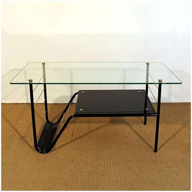 Mid-Century Modern 1960s Coffee Table by Pierre Guariche, Metal, Glass, Opaline, Brass - France For Sale - Image 3 of 8