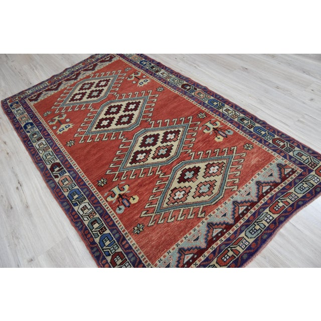 Vintage Oushak Wool Hand Knotted Rug - 4′6″ × 8′1″ - Image 6 of 11
