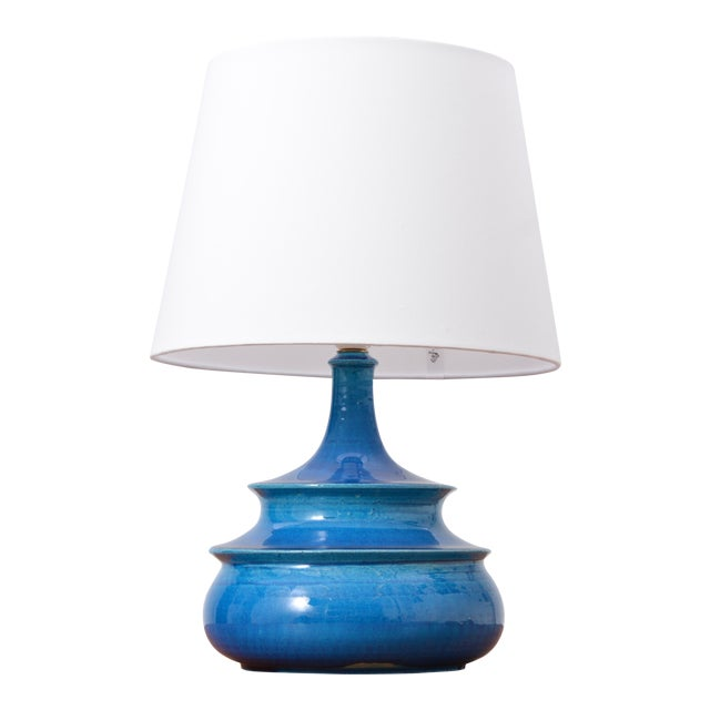 Rare 1960s Turquoise Glazed Danish Vintage Table Lamp by Nils Kähler For Sale