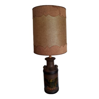 Mid-Century Milk Can Ceramic Table Lamp With Shade For Sale