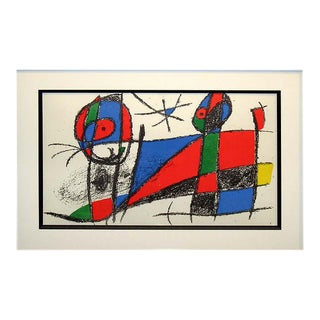 Joan Miro Unsigned Vintage Lithograph Art Print 1972 For Sale