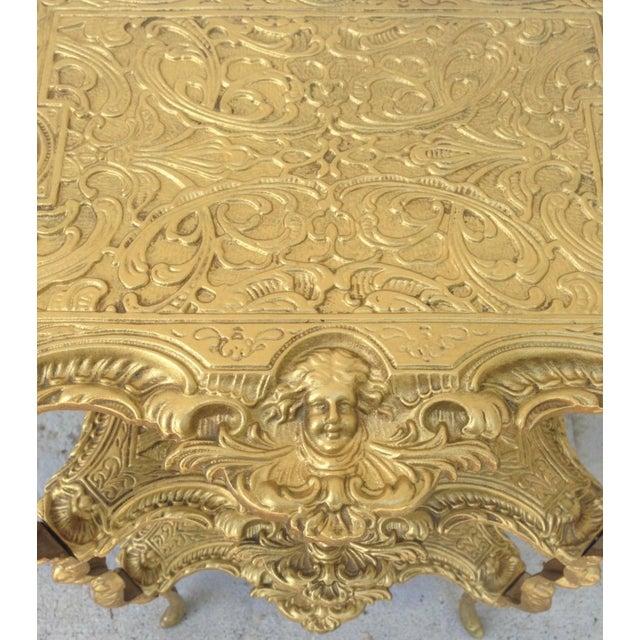 Vintage Hollywood Regency Gold Metal 3 Tier Table For Sale In Atlanta - Image 6 of 7