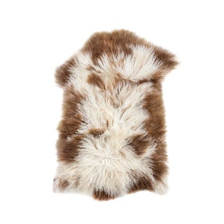 "Contemporary Long Wool Sheepskin Pelt, Handmade Rug - 1'10""x2'10"""