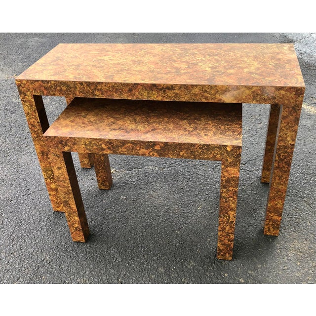 Wood Milo Baughman Inspired Faux Burlwood Parsons Style Nesting Console Tables - Set of 2 For Sale - Image 7 of 9