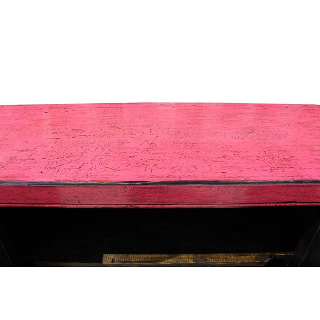 Oriental Credenza: Oriental Simple Pink Credenza Sideboard Buffet Table