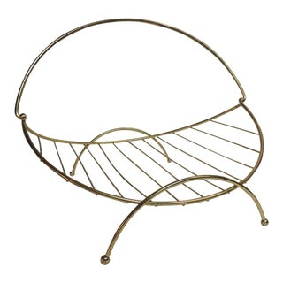 Mid-Century Modern Polished Brass Magazine Rack/Holder For Sale