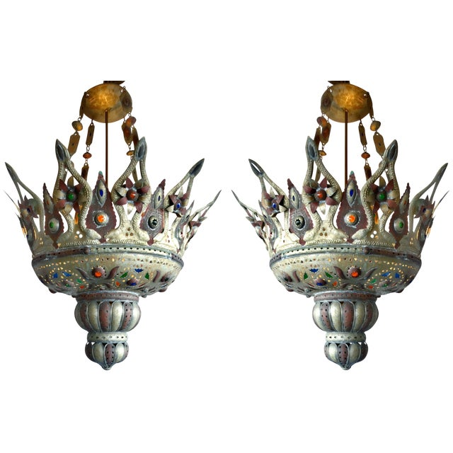 Moroccan Repousse Chandelier - a Pair - Image 1 of 8